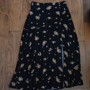 American Eagle Outfitters Black Floral Boho Skirt